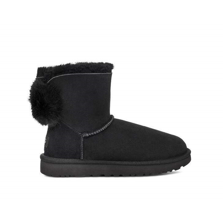 Classic Boot Puff Crystal Bow Black